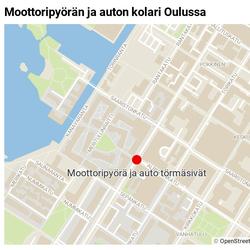 Moottoripyöräilijä loukkaantui kolarissa Oulun keskustassa
