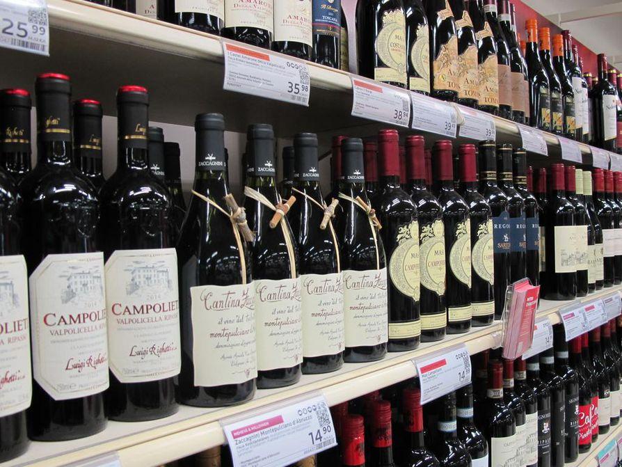 Limingantullin Alkon viinivalikoimassa on noin 1100 eri tuotetta. Kuvituskuva arkistosta.