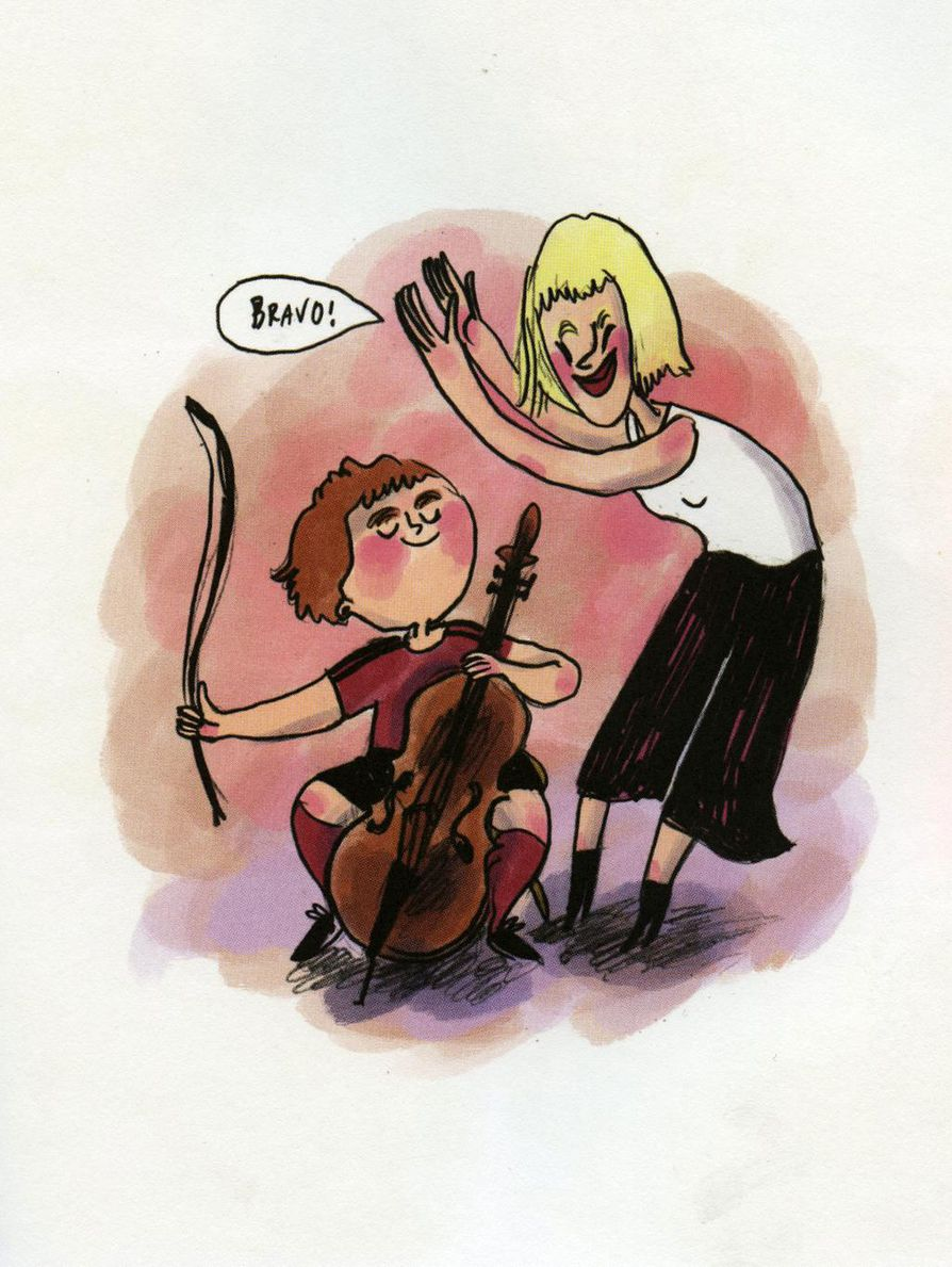 Kuvitusta Pauli Kallion käsikirjoittamasta ja Juliana Hyrrin kuvittamasta sarjakuvasta Kalle, pallo ja sello.