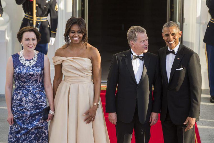 Presidentit Barack Obama ja Sauli Niinistö, sekä heidän puolisonsa Michelle Obama ja Jenni Haukio.