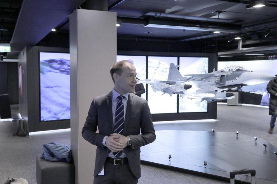 Saabin Suomen Gripen-kampanjan johtaja Magnus Skogberg yhtiön pääkonttorilla Tukholmassa keskiviikkona.