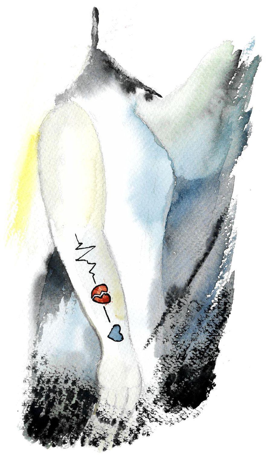 Poika teki itsemurhan 17-vuotiaana marraskuussa 2017. Nyt hänen äitinsä kantaa käsivarressaan tatuointia, jossa sydän on särkynyt  ja toinen muuttuu kylmän siniseksi.