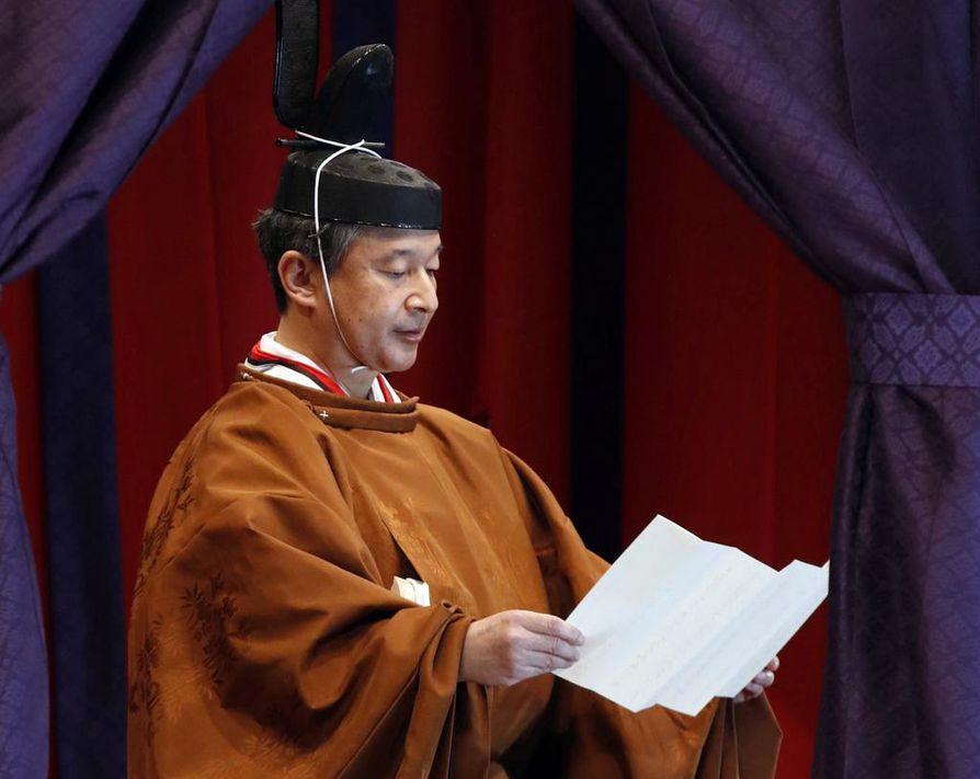 Japanin keisari Naruhito piti puheen, jossa hän lupasi noudattaa maan perustuslakia keisarillisessa palatsissa Tokiossa tiistaina.