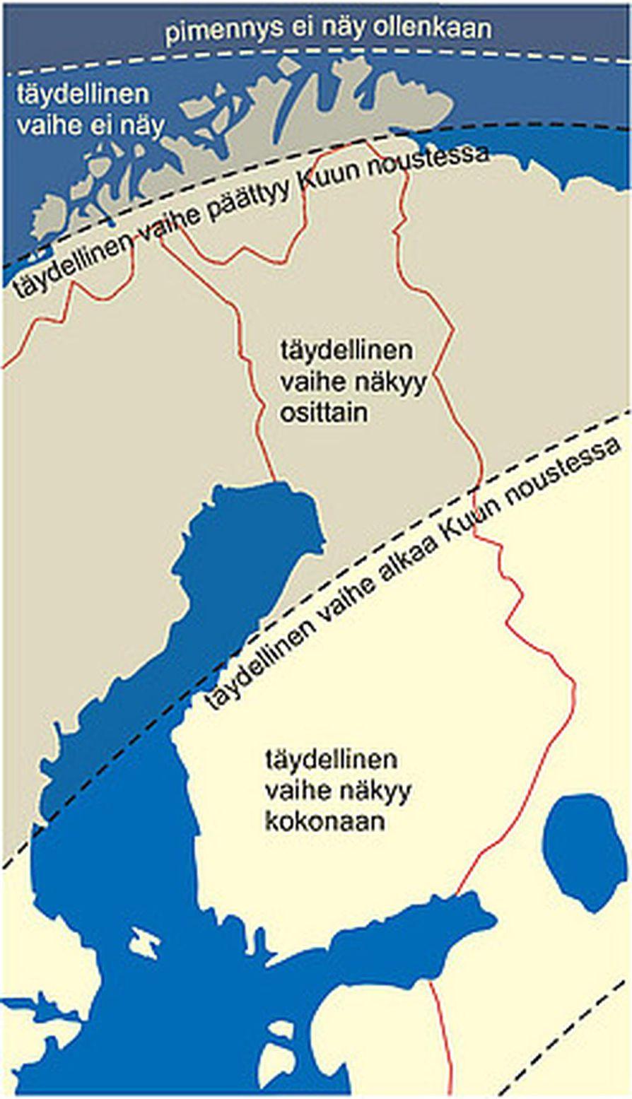 Näin kuunpimennys näkyy eripuolilla Suomea.
