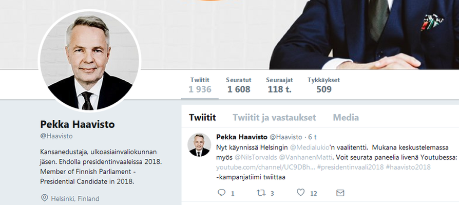 """Presidenttiehdokas Pekka Haaviston mukaan hänen Twitter-tiliään joulun alla seurannut """"bottiarmeija"""" jäljitettiin  Suomen ulkopuolelle Venäjä-myönteisiin toimijoihin."""