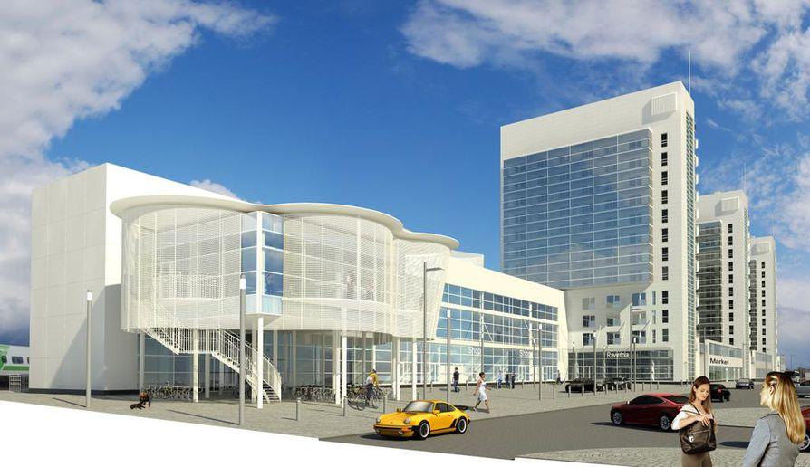 Havainnekuva kolmannesta asemantornista kertoo, että kerrostalon etupuolelle tulee liike- ja toimistorakennus. Asematunnelia jatketaan kulkemaan keltaisen Porschen kohdalla uuden talon ja Rautatienkadun alta.
