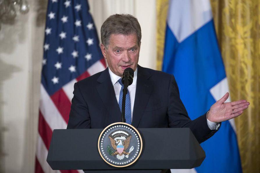 Sauli Niinistö kommentoi Donald Trumpin YK-puheenvuoroa. Arkistokuva.