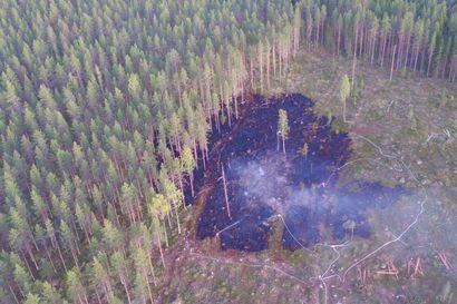 Hakkuuaukealla syttyi maastopalo Pyhäjärvellä – palon savut näkyivät laajasti järven alueella