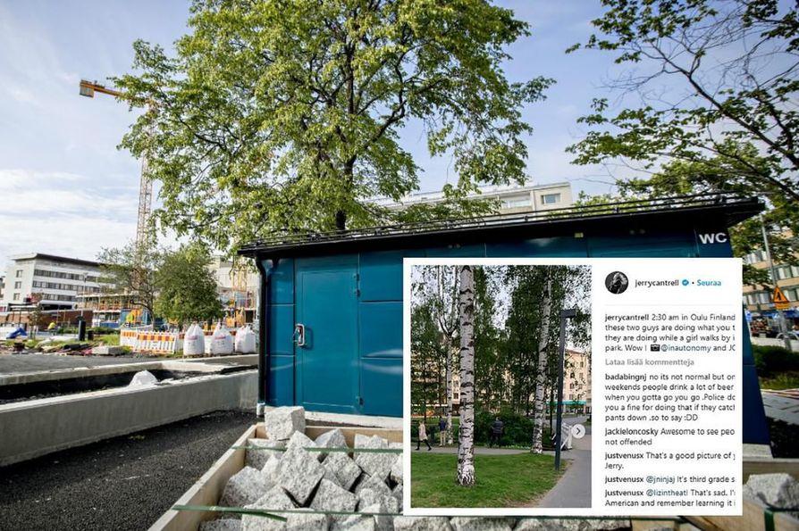 Oulun vessatilanne sai viikonloppuna osakseen kyseenalaista kunniaa, kun kaupungissa konsertoineen Alice In Chains –yhtyeen kitaristi Jerry Cantrell ihmetteli Instagram-päivityksessään Otto Karhin puistossa virtsaavia oululaisia. Toisessa kuva Mannerheimin puistossta, jossa avataan uusi kaikille avoin wc-rakennus, kunhan puiston remontti valmistuu alkusyksystä