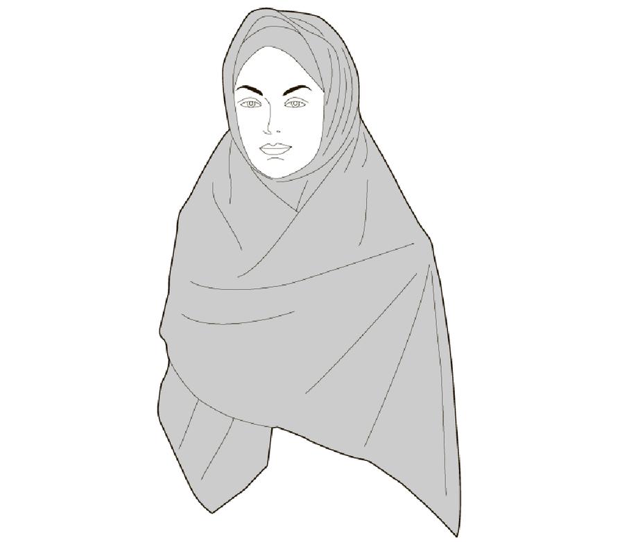 Sanaa käytetään usein musliminaisen huivin, erityisesti neliönmallisen huivin synonyymina. Sanan merkitys on kuitenkin laajempi: se tarkoittaa säädyllistä pukeutumista, mutta myös käyttäytymistä ja esiintymistä.