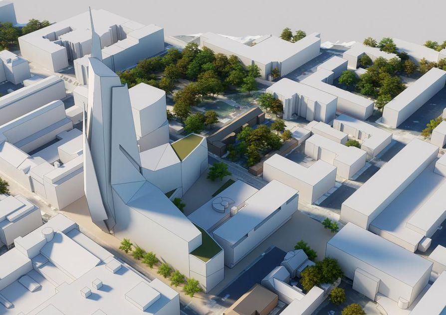 Saaristonkadun ja Kirkkokadun kulmauksessa saatetaan jonain päivänä nähdä Oulun Osuuspankin rakennuttama 24-kerroksinen toimisto-hotellirakennus mutta todennäköisesti ei kuitenkaan tämän havainnekuvan kaltaisena.