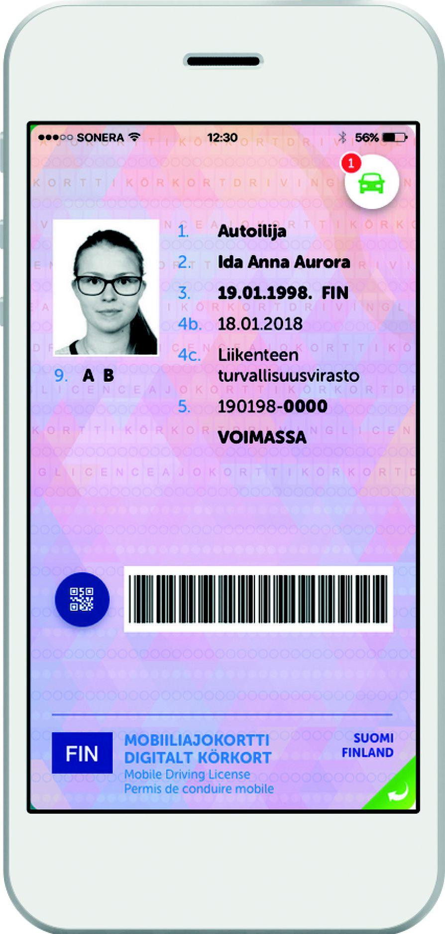Mobiiliajokortti kulkee kännykässä käyttäjän mukana. Sovellus on vapaasti ladattavissa ensi kesänä Android- ja iPhone-puhelimiin.
