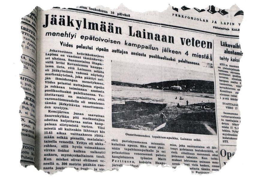 Lapin Kansa kertoi etusivullaan kohtalokkaasta veneonnettomuudesta 70 vuotta sitten. Myöhemmin uhrien määräksi varmistui viisi.