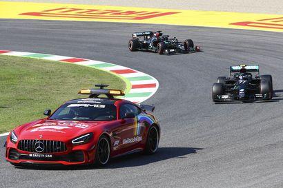 Uusintalähdöt Valtteri Bottaksen turmana - punaiset liput liehuivat Mugellon F1-kisassa kahteen otteeseen