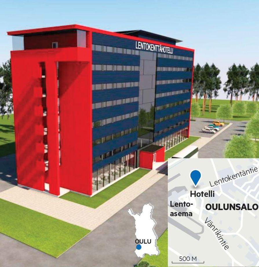 Suunnitelmissa hotelli on 8-kerroksinen.