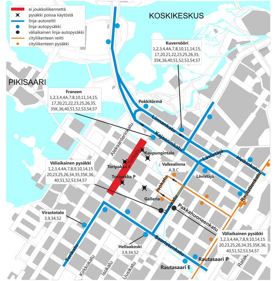 Joukkoliikenteen muutokset kartalla.
