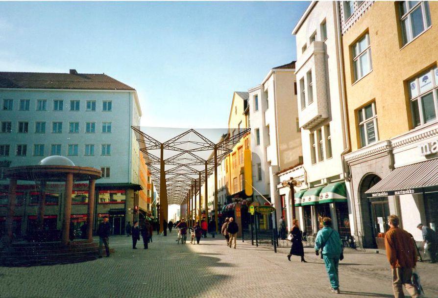 Rotuaarin kattamista on pohdittu moneen otteeseen. Kaleva pyysi vuonna 2003 arkkitehtitoimistoilta näkemyksiä kattamisesta. Kuvassa yksi Uki Arkkitehtien visioista
