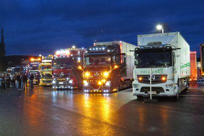 Massiivinen rekka-autojen kokoontuminen valloitti Syötteen viikonloppuna: Valot vilkkuivat ja torvet soivat