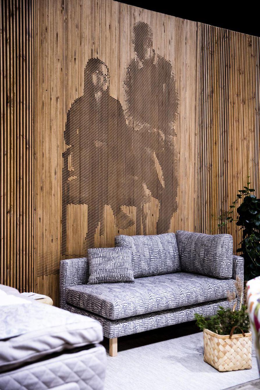 Tämä valokuvasta tehty seinä oli esillä Habitaire-messuilla Helsingissä.
