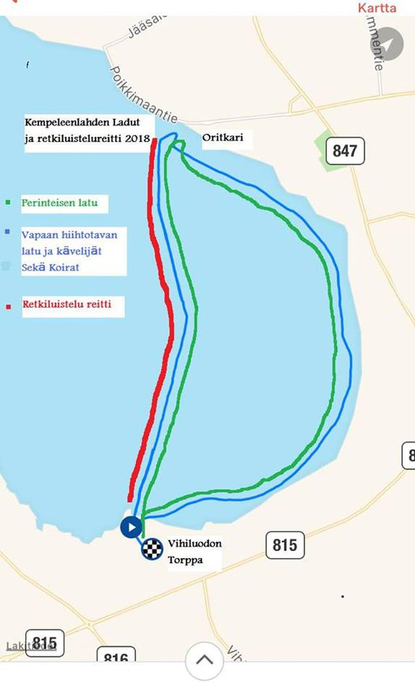 Kempeleenlahden hiihtolatu kulkee suurelta osin lähellä rantoja.