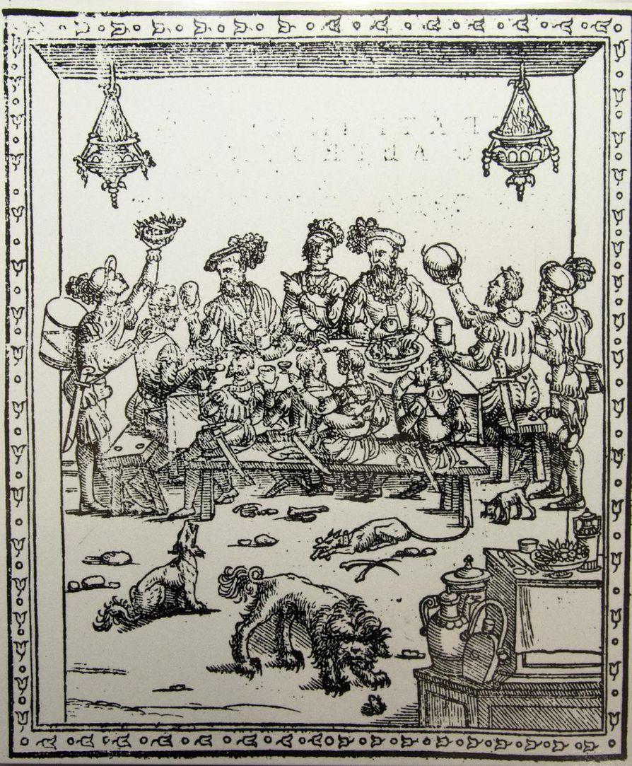 Cristoforo Messisbuco Banchettin teoksessa Juhlaillallinen vuodelta 1549 nähdään, kuinka ruokaa heitetään koirille ja köyhille. Ruuan jakaminen kuului hyvään uskonnollisuuteen.