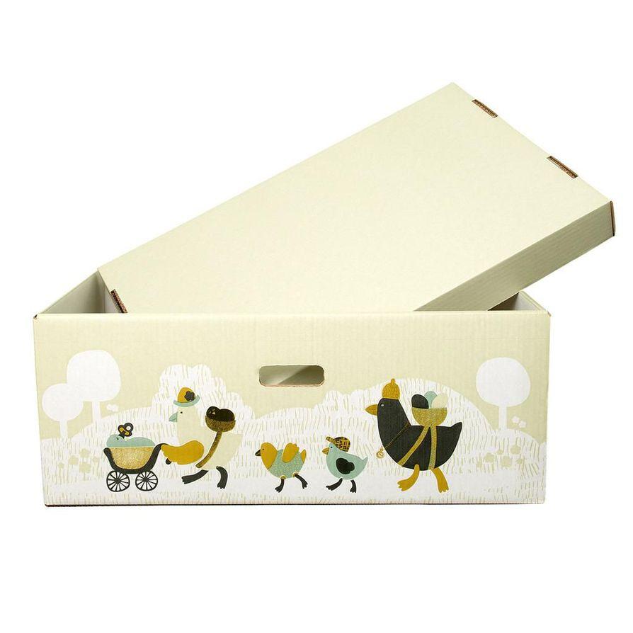Äitiyspakkauslaatikkoa voi käyttää myös vauvan vuoteena. Kaikkiaan tämän vuoden äitiyspakkauksessa on 53 tuotetta.