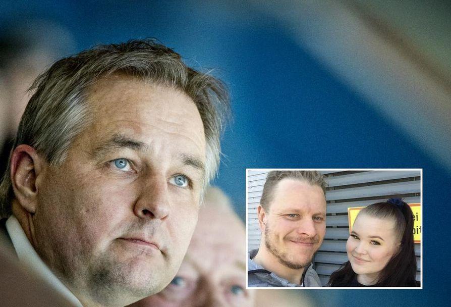 Tommi Virkkunen (iso kuva) lupaa järjestää Jennan Ouluun, jos sarja menee seitsemänteen peliin. Kuvassa Jennan kanssa Lasse Kukkonen.