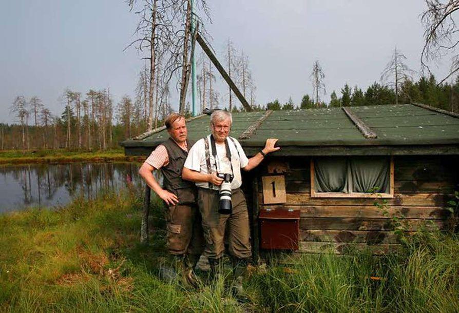 Luonnon kuvaamista jo vuosikymmeniä harrastaneet veljekset Kari (vas.) ja Seppo Kemppainen kuvaavat karhuja karhukuvauspalveluja tuottavan yrityksen kojuilta Kuhmon Vartiuksessa.