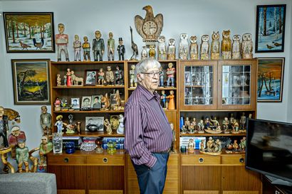 """""""Ihan ajankuluksi olen veistellyt ja tauluja maalannut"""", kertoo kaiken ikänsä luomisintoa potenut Viljo Luokkanen – itseoppineen taiteilijan mielestä paras paikka hänen teoksilleen on Pudasjärven Pärjänsuolla"""