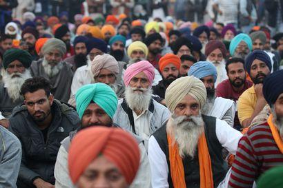 """Maanviljelijöiden laajat protestit leviävät Intiassa – """"Istumme täällä niin kauan kuin tarve vaatii"""""""