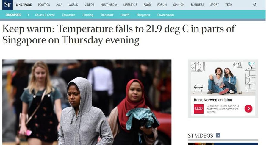 Sääjutut vetävät singaporelaisessakin mediassa.
