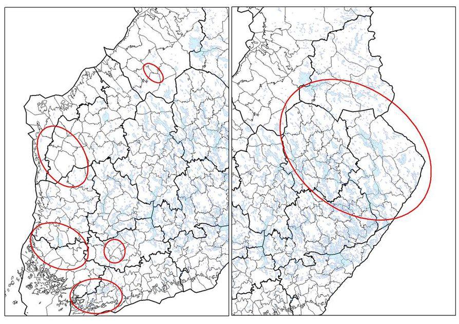 Vasen kartta osoittaa alueet, joilla vapaaehtoiset kerääjät ottavat tulevana talvena susien ulostenäytteitä DNA-tutkimuksia varten. Oikea kartta näyttää alueet Pohjois-Karjalassa, Pohjois-Savossa ja Kainuussa, jossa Luonnonvarakeskuksen väki kerää näytteitä.