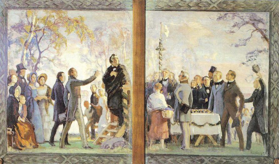 Maamme-laulun ensiesitys oli toukokuussa 1848 Kumtähden kentällä Helsingin liepeillä pidetyssä Floran-päivän juhlassa. Eero Järnefelt luonnosteli juhlasta maalauksen Helsingin yliopiston juhlasalin seinään. Maalaus tuhoutui jatkosodan pommituksissa.