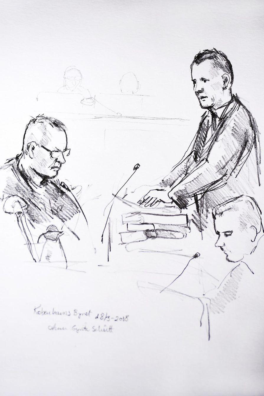 Piirtäjän näkemys oikeudenkäynnistä. Vasemmalla syytetty Peter Madsen ja oikealla syyttäjä.