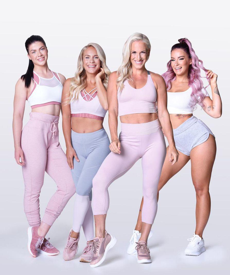 """Fitnesspäiväkirja 2020:ssa treenaamisestaan kertovat Pernilla Böckerman, Eevi Teittinen, Nanna Karalahti ja Tia-Maria """"Tinze"""" Sokka."""