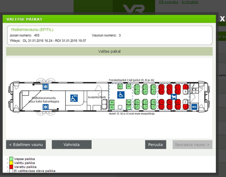 VR:n lippukaupan paikanvaraus näyttää varaustilanteen junanvaunu ja kerros kerrallaan. Muut vaunut pitää ladata erikseen.