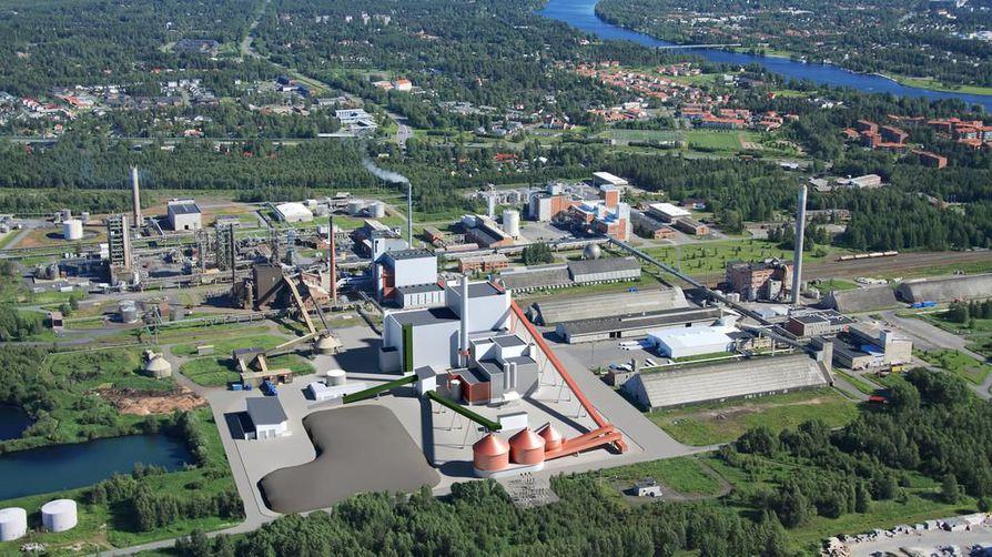 Havainnekuva Laanilan teollisuusalueelle Ouluun tulevasta biovoimalaitoksesta, joka tuottaa sähköä ja kaukolämpöä.