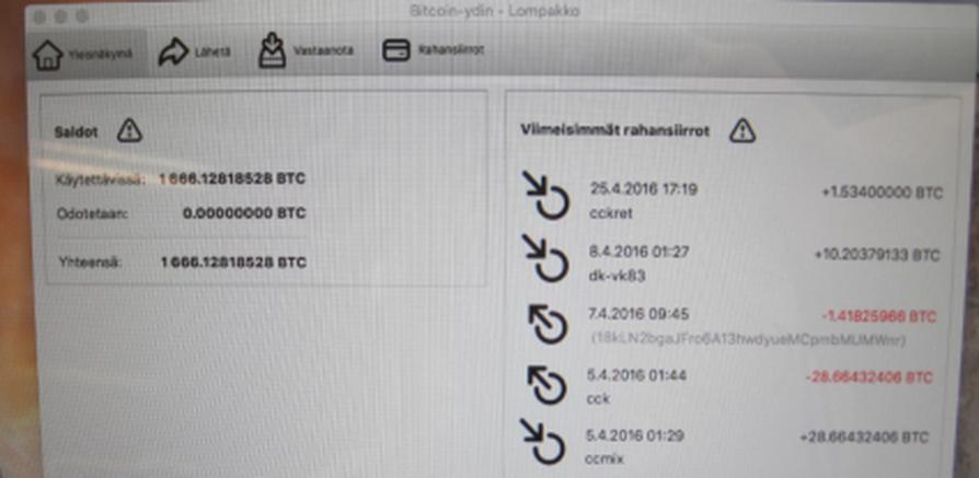 Tullin kuvamateriaalia bitcoin-lompakosta.