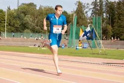 Uusi pipo jäi verryttelyalueelle, mutta Oulun Pyrinnön Samuel Purola porskutti vakuuttavasti 100 metrin loppukilpailuun