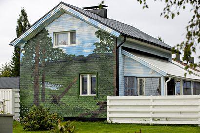 """Kuivasjärvellä omakotitalon ulkoseinään maalattu muraali herättää ihastusta ohikulkijoissa – """"Tämä on tehty ihmisille iloksi ja virkistykseksi"""""""