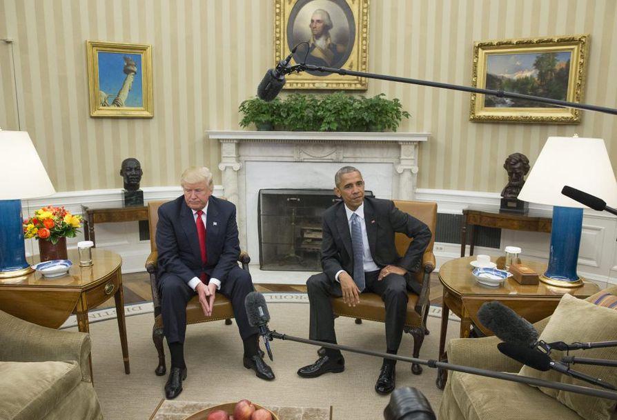 Tuleva presidentti Donald Trump ja nykyinen presidentti Barack Obama tapasivat tänään Valkoisessa talossa.
