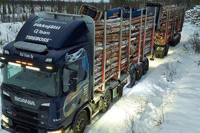 Puukuljetuksia kokeillaan Lapissa kahdella jättirekalla – tutkimuksella pyritään pienetämään päästöjä ja kuljetuskustannuksia