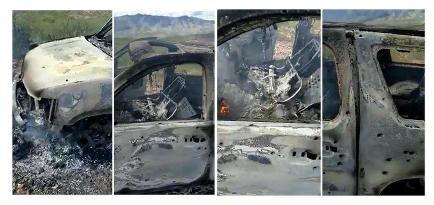 Kuvat näyttävät pahoin palaneen auton, johon on osunut useita luoteja.