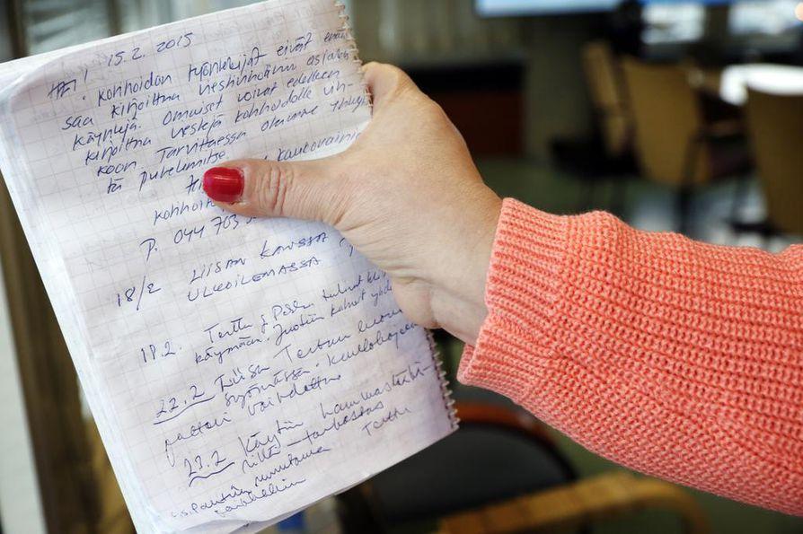 Kotihoidon työntekijä jätti viimeiset terveisensä asiakkaan viestivihkoon 15. helmikuuta. Sen jälkeen vihkoon ovat saaneet kirjoittaa vain omaiset.
