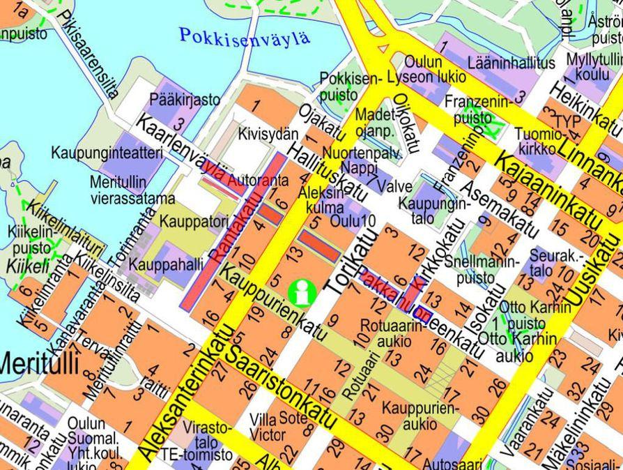 Kartassa ovat merkittynä suljettuna olevat katualueet.