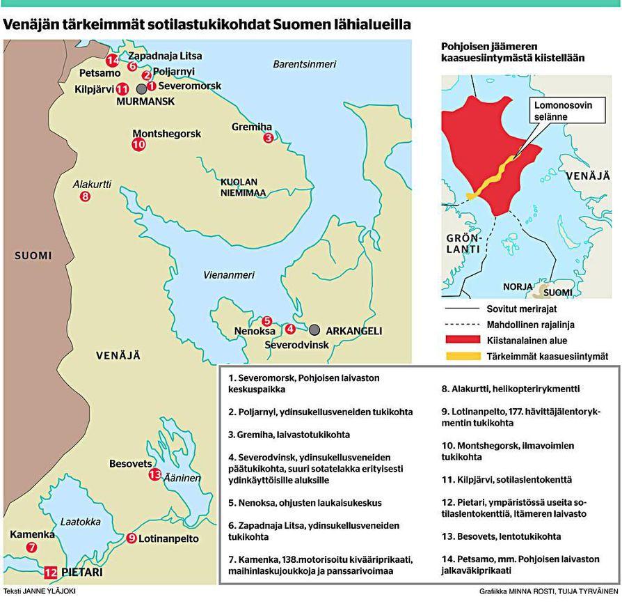Venäjän tärkeimmät sotilastukikohdat Suomen lähialueilla.