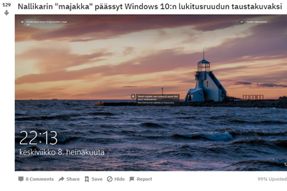 """Nallikarin """"majakka"""" eli näkötorni ilmaantui Windows 10:n lukitusnäyttökuvien joukkoon – Suomen Microsoftilta kerrotaan, kuinka kuvat valitaan"""