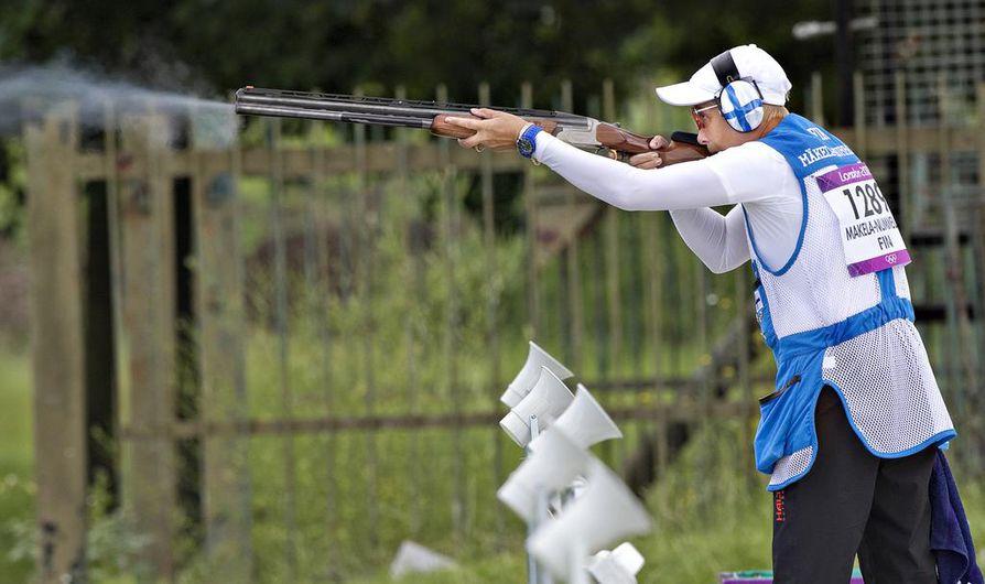 Satu Mäkelä-Nummela on edustanut Suomea olympialaisissa jo kolme kertaa. Arkistokuva trap-radalta Lontoosta.