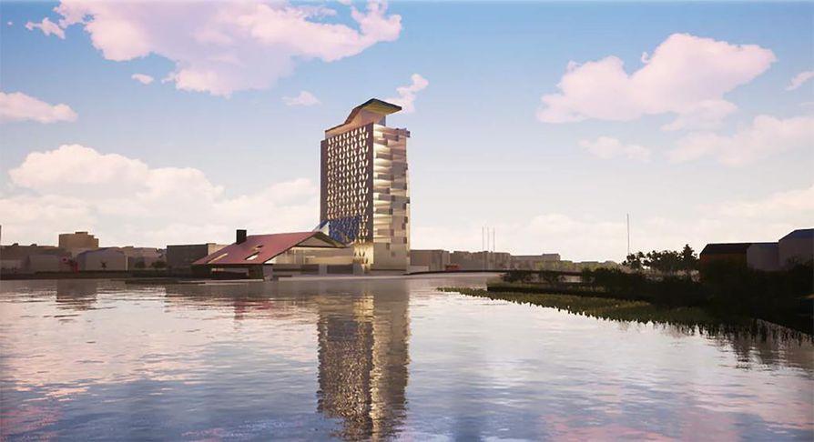Vänmanninsaareen teatteritalon ja pääkirjaston kupeeseen suunnitellaan 22-kerroksista tornihotellia, Terwa-Toweria.