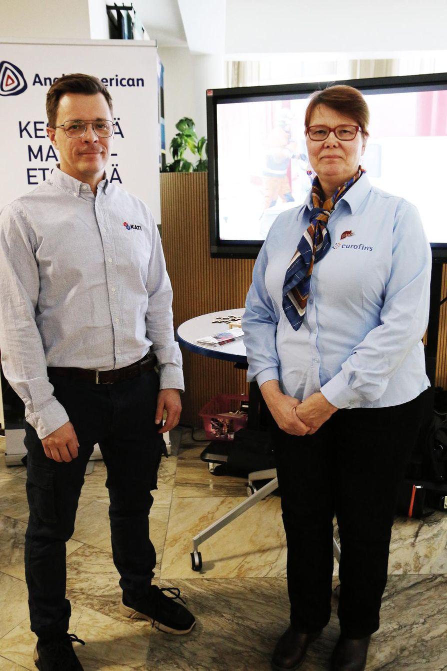 Oy Kati Ab:n Matti Rautakoskelta kyseltiin erityisesti timanttikairauksen vaikutuksista ympäristöön. Eurofins Labtiumin Arja Sarpola kertoo, että yrityksellä on kova tarve työntekijöistä.